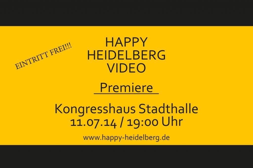 Gelber Hintergrund mit einladung zu Videopremiere am 11. Juli in die Stadthalle Heidelberg, ab 19 Uhr Eintritt frei