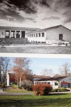 Haus der Jugend vor 60 Jahren (schwarzweis) und heute im Vergleich